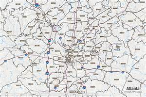 Atlanta Area Map by Atlanta Zip Code Boundaries