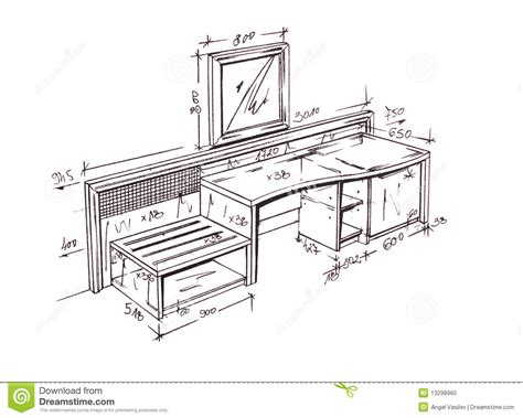 Sofa Sketch Freehand by Modern Interior Design Desk Freehand Drawing Stock