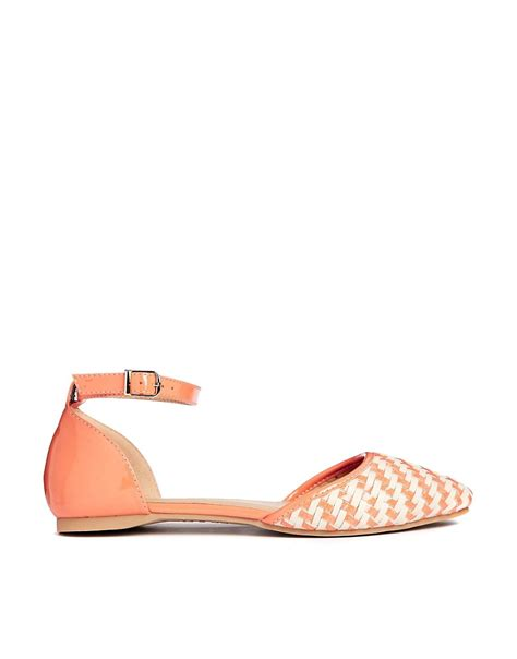 orange flat shoes for new look new look kove orange two part point flat shoes