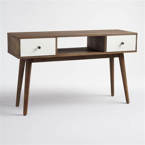 world market sofa table wood and white lacquer console table world market