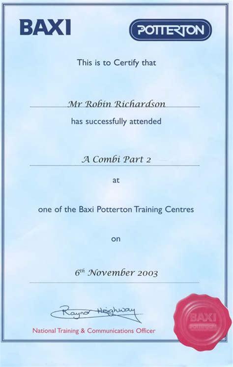 Plumbing Qualifications Uk by Robin Richardson Plumbing Heating Qualifications