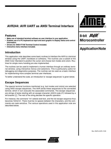 AVR UART as ANSI Terminal Interface   Computer Terminal