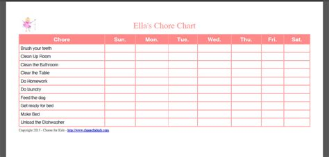 free printable chore chart template business letter template