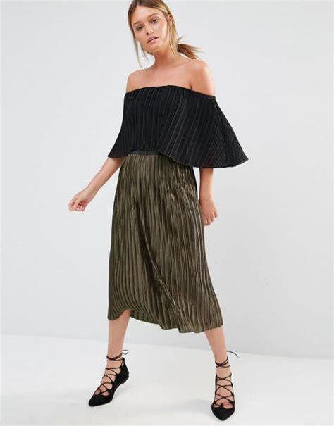 new look new look satin pleated midi skirt