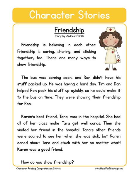 Friendship Worksheets by Reading Comprehension Worksheet Friendship