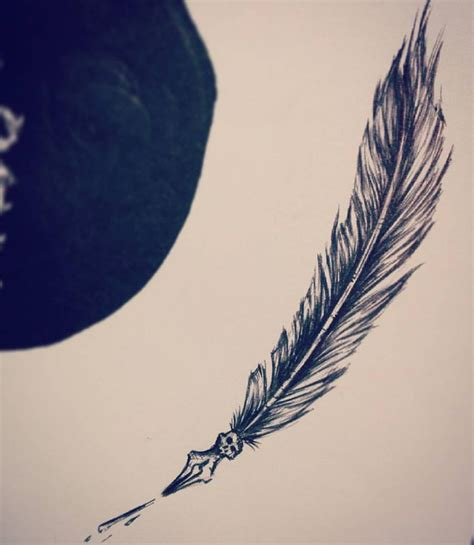 tattoo pen white white feather pen tattoo www imgkid com the image kid