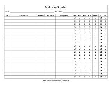 medicine calendar template keep track of how much medication to take and the time and