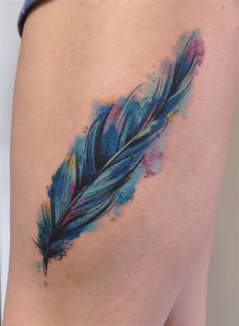 colored tattoos water color feather tattoos