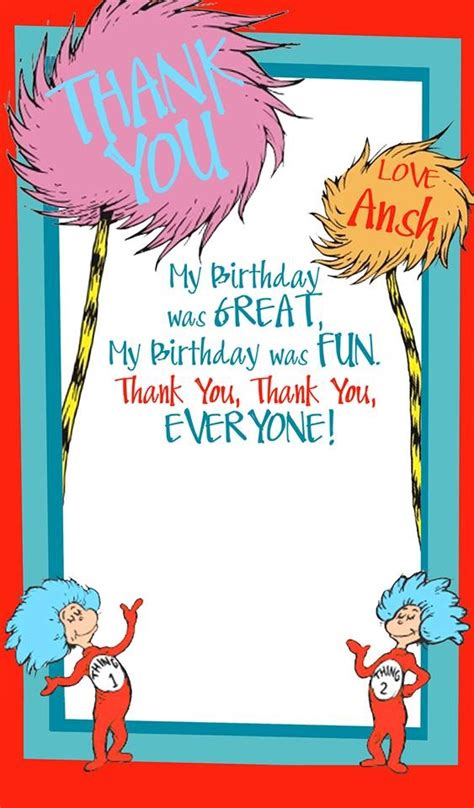 Dr Seuss Birthday Thank You Cards