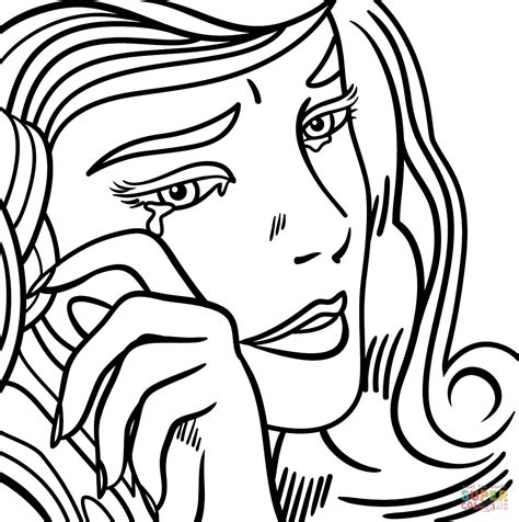 crying girl by roy lichtenstein super coloring color
