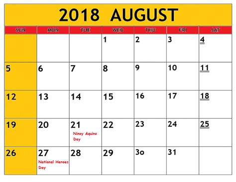 printable monthly calendar 2018 philippines august calendar 2018 philippines free printable template