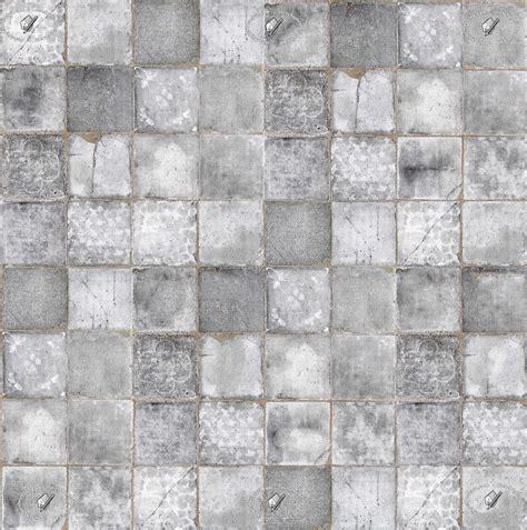 Grey White Kitchen Damaged Cement Concrete Tile Texture Seamless 20848