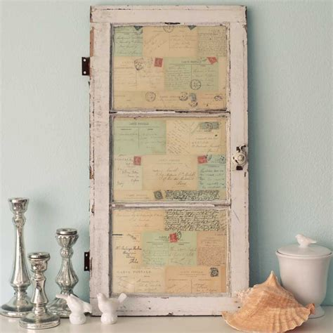 vintage wall decor antique window of postcards decor wall