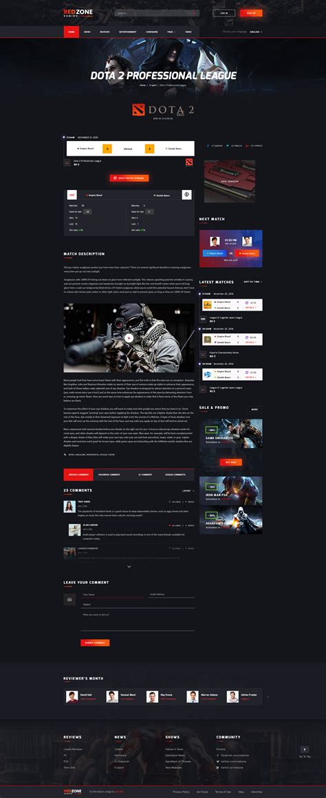 Red Zone Game Psd Template Blog Review Portal Community By Swlabsco Gaming Community Website Templates