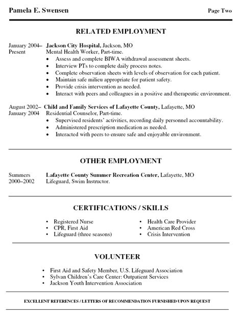 Mental Health Resume Objective Mental Health Resume Exles Resume Format 2017