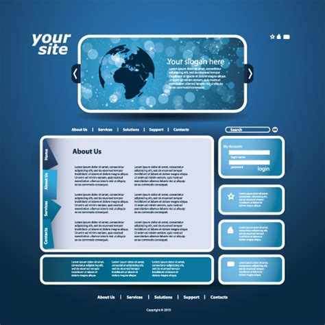 free vector website templates blue style website template vector 02 vector web design