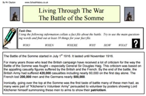 The Battle Of The Somme Worksheet Answers by The Battle Of The Somme Worksheet Answers The Large And