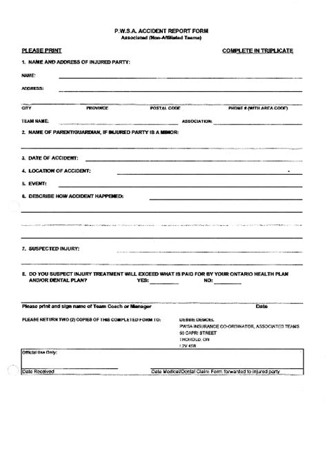 car accident car accident form template