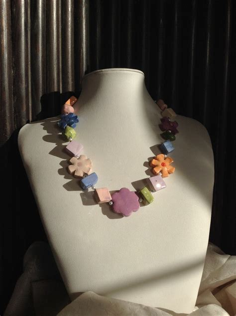 fiori di ceramica collana girocollo in ceramica fiori di primavera