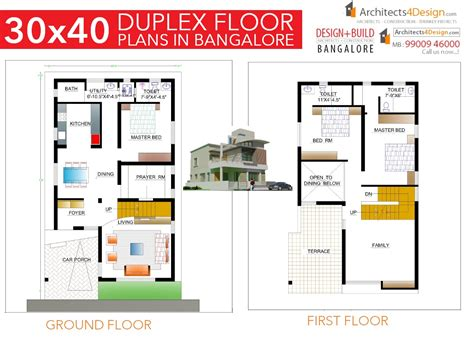 30x40 duplex house floor plans 30x40 house plans in bangalore for g 1 g 2 g 3 g 4 floors