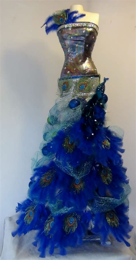 peacock tree mannequin tree with a peacock theme seams and