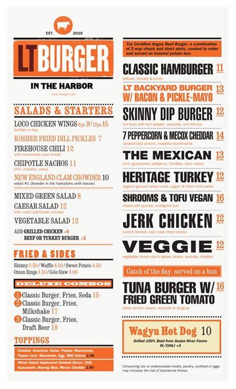 design menu burger lt burger sag harbor ny designed by mark brooks graphik