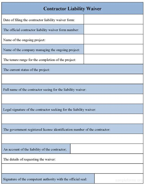 release of liability form template contractor liability waiver form sle contractor