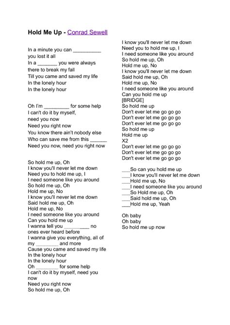 Song Worksheet: Hold Me Up by Conrad Sewell