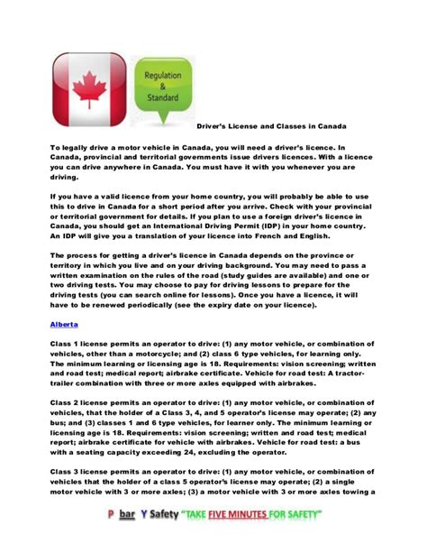 Car License Types by Drivers License Types And Classes In Canada