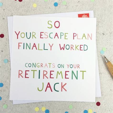 printable card retirement escape plan funny personalised retirement card by wink