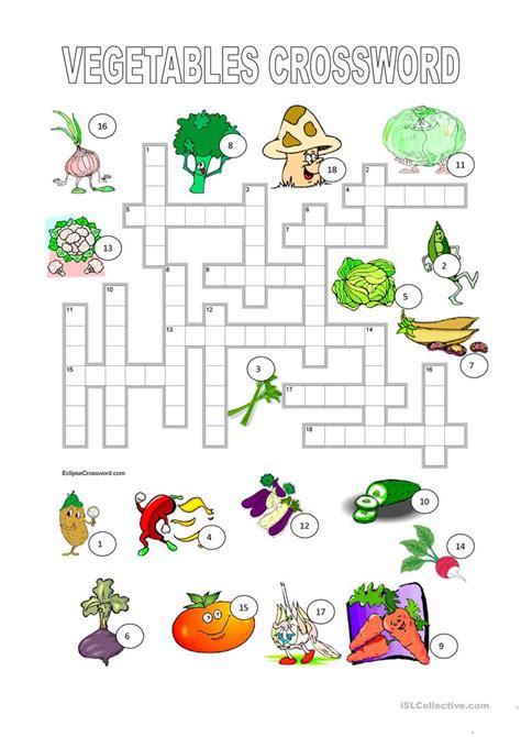 printable crossword puzzles vegetables vegetables crossword key worksheet free esl printable