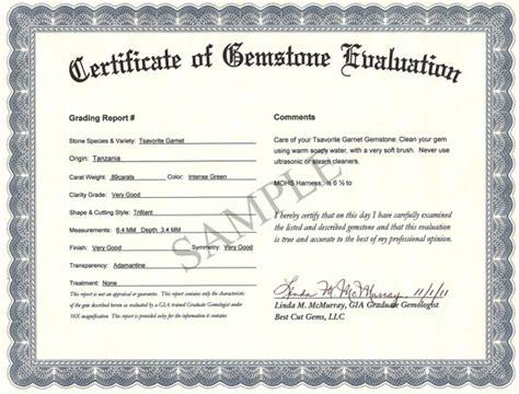 best cut gems offers a certificate of gemstone identity