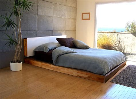 floor bed ideas brown varnished teak wood low profile bed frame on
