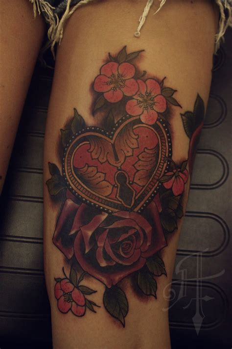 heart lock rose tattoo and lock tattoos and trends