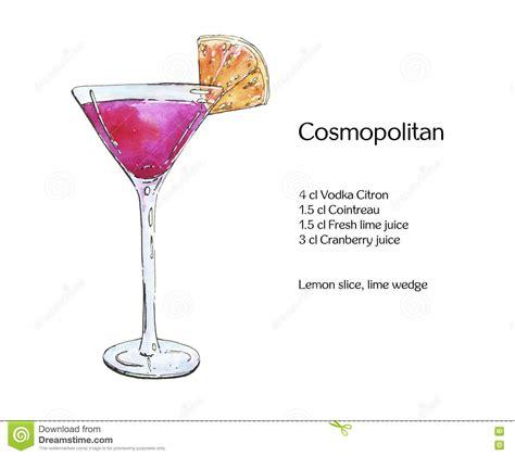 cosmopolitan drink drawing hand drawn watercolor cocktail cosmopolitan stock