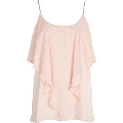 Light Pink Top by River Island Light Pink Rhinestone Layered Cami Top