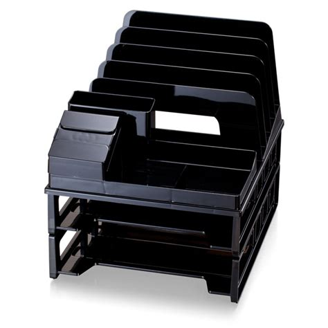 Desk Organizer Sorter Front Load Sorter Organizer With 2 Letter Trays Black