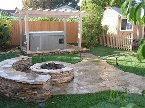 backyard landscape design unique stone table with fireplace completing outdoor