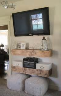shelves around tv diy media shelves shanty 2 chic