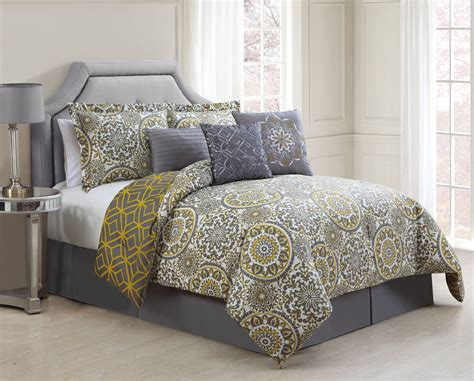 7 piece comforter set 7 piece jezebel gray yellow reversible comforter set