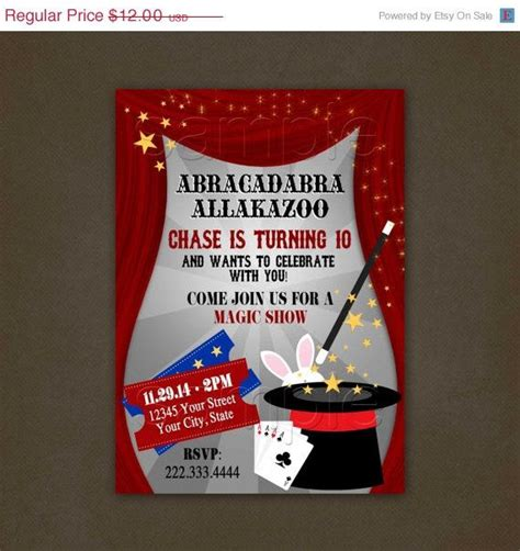 holiday sale magic show birthday invitations by