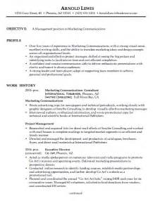 objective for marketing resume exle resumes design