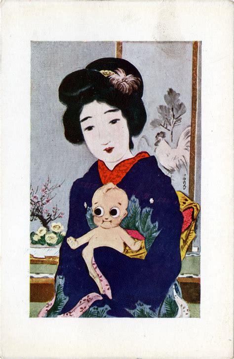 1920 kewpie doll kewpie dolls mochi mikan new years card c 1920