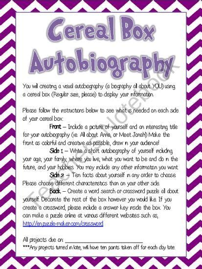 9 Brilliant Autobiographies To Read by Cereal Box Autobiography Project Handout My Classroom