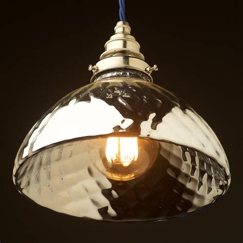 Pendant Light Globes Silver Quilted Glass Mercury X Shade Pendant
