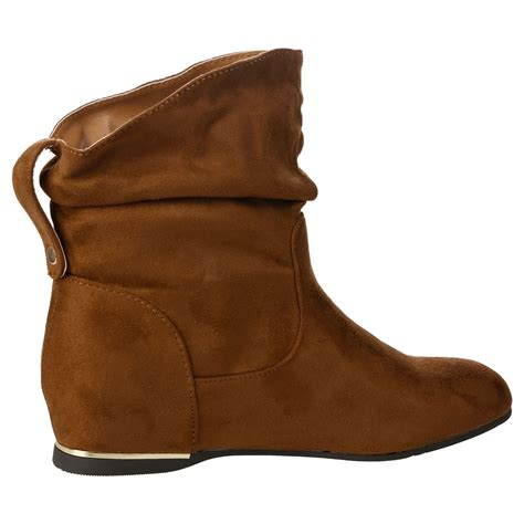 Wedges 5flat Fladeo new womens flat faux suede slouch low heel wedge casual ankle boots size ebay