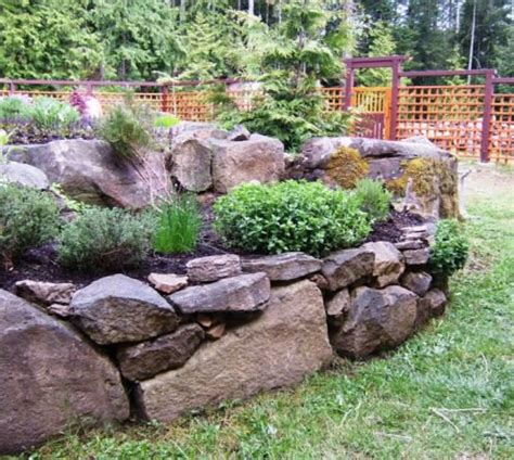 rock bed gardening with rocks