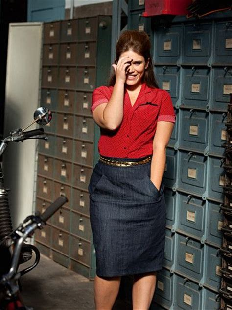 office wear in denim pencil skirt and shirt curvy