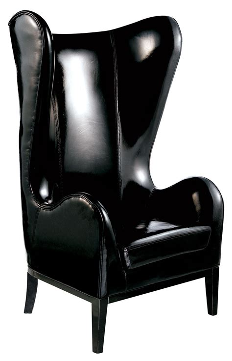 Highback Chairs - classical high back chair in black patent leather