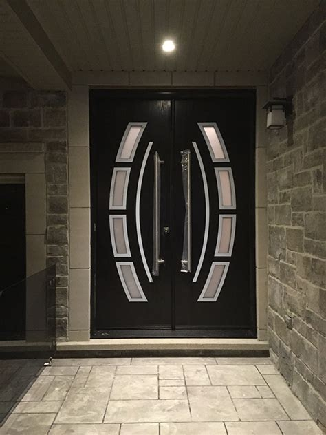 steel door design custom design modern doors with arched designed door lites and stainless steel door handles